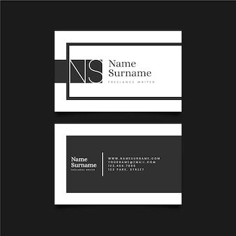 Conjunto de cartões de visita de design monocromático