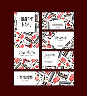Conjunto de cartões de visita e folhetos com cosméticos. estilo de desenho animado. ilustração vetorial.