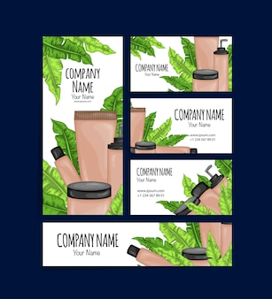 Conjunto de cartões de visita e folhetos com cosméticos orgânicos. estilo de desenho animado.