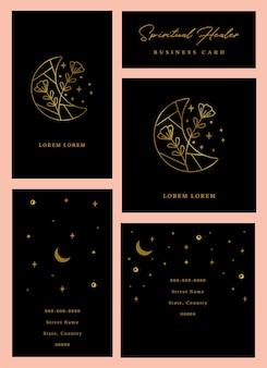 Conjunto de cartões de visita espirituais e de cura em vetor com lua e flores
