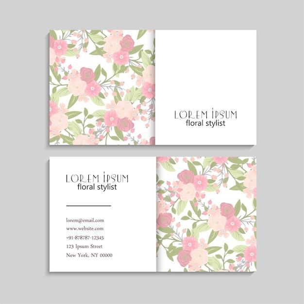 Conjunto de cartões de visita floral.