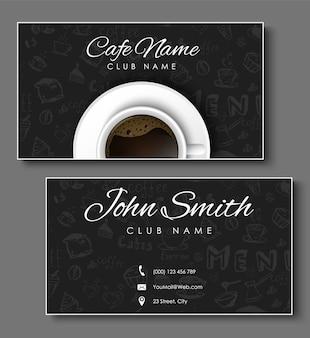 Conjunto de cartões de visita pretos para cafeteria e cafeteria