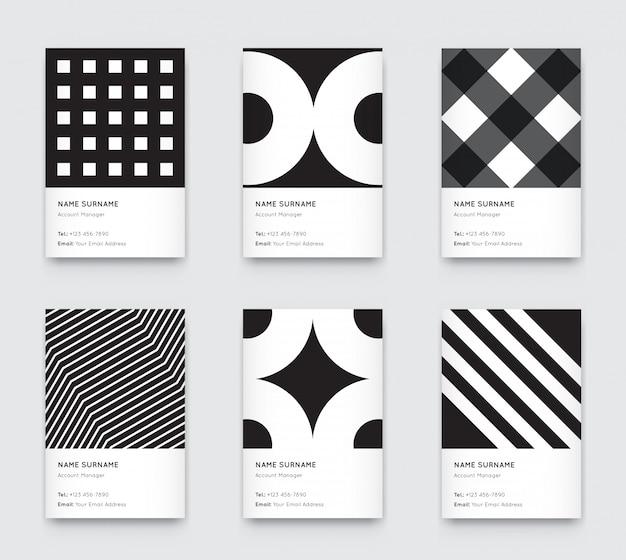 Conjunto de cartões de visita vertical na moda gráfico preto e branco mínimo
