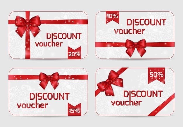 Conjunto de cartões de voucher de desconto ornamentais com laço de fita de cetim vermelho brilhante nas férias