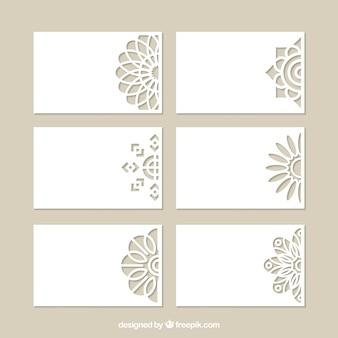 Conjunto de cartões decorativos com corte a laser