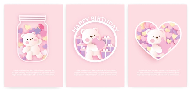 Conjunto de cartões do chuveiro de bebê e cartões de aniversário com urso fofo.