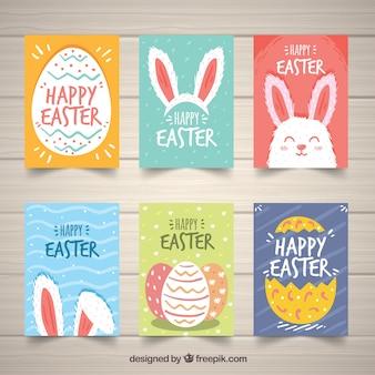 Conjunto de cartões do dia de páscoa em estilo desenhado à mão