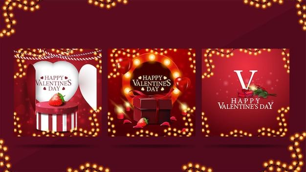 Conjunto de cartões do dia dos namorados com elementos do dia dos namorados, moldura de modelo quente brilhante e presentes