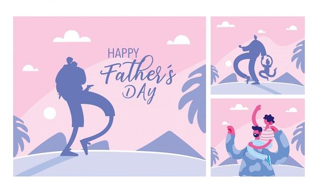 Conjunto de cartões do dia dos pais feliz