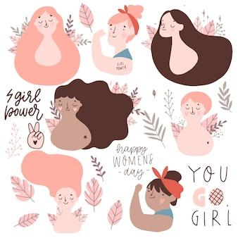 Conjunto de cartões do dia internacional da mulher