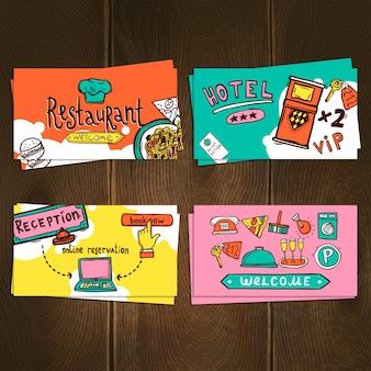 Conjunto de cartões do hotel
