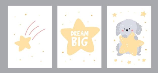 Conjunto de cartões e cartazes com um cão bonito dos desenhos animados com estrela