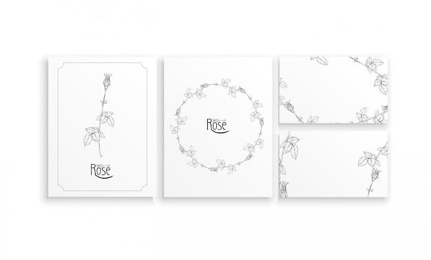Conjunto de cartões e cartões de visita com arranjos florais gráficos com flores de rosas