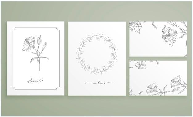 Conjunto de cartões e cartões de visita com arranjos florais gráficos