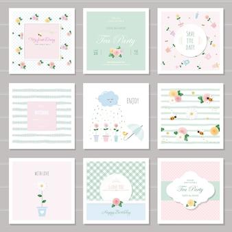Conjunto de cartões e padrões florais