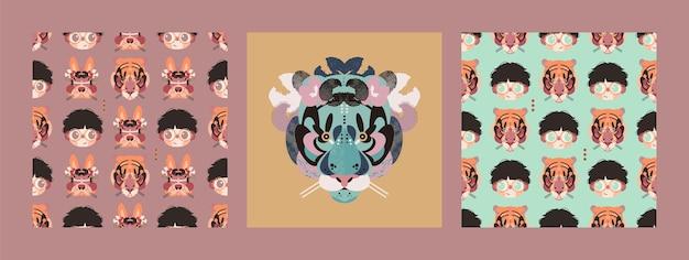 Conjunto de cartões e padrões sem emenda com rostos de menino, coelho e tigre.