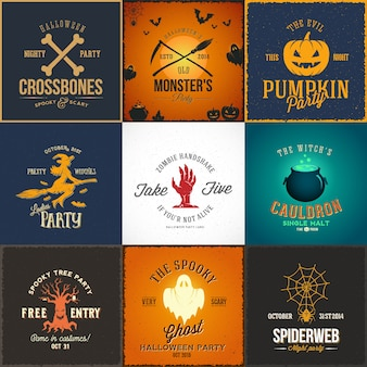 Conjunto de cartões, etiquetas ou logotipos de festa de halloween do vintage.