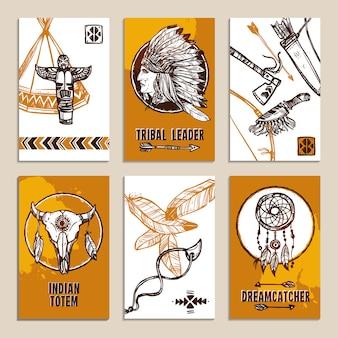 Conjunto de cartões étnicos