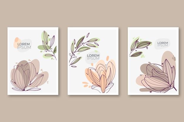Conjunto de cartões florais desenhados à mão com gravura