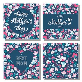 Conjunto de cartões florais do dia das mães