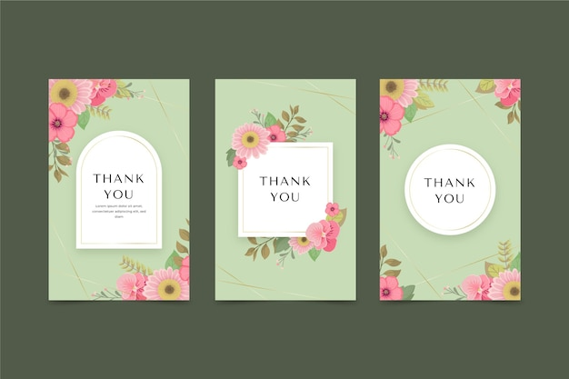 Conjunto de cartões florais planos