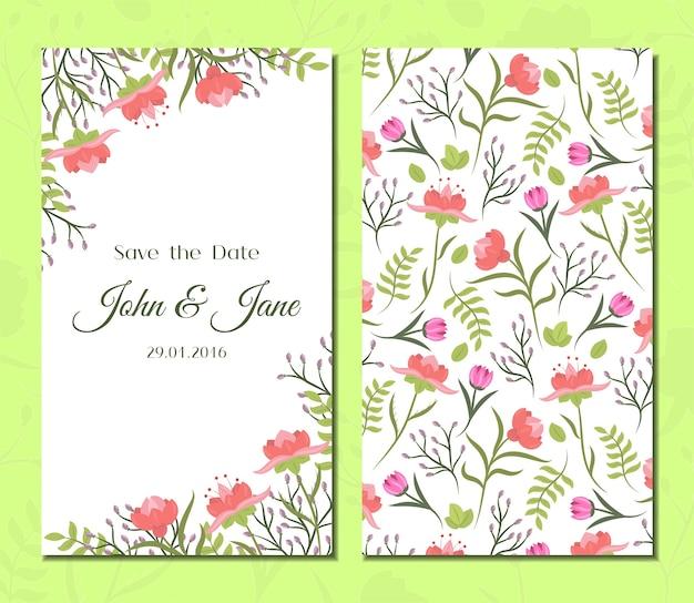 Conjunto de cartões florais vintage fofos.