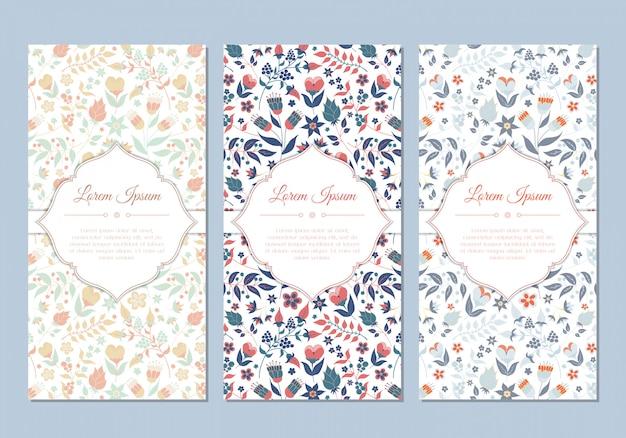 Conjunto de cartões floral bonito doodle vintage