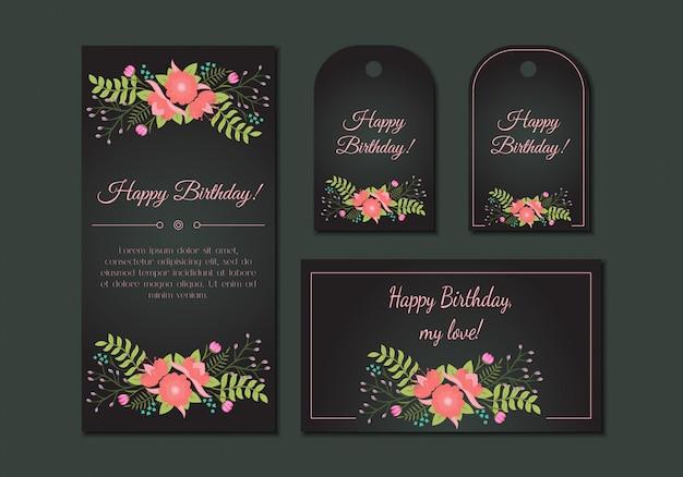 Conjunto de cartões floral vintage fofo