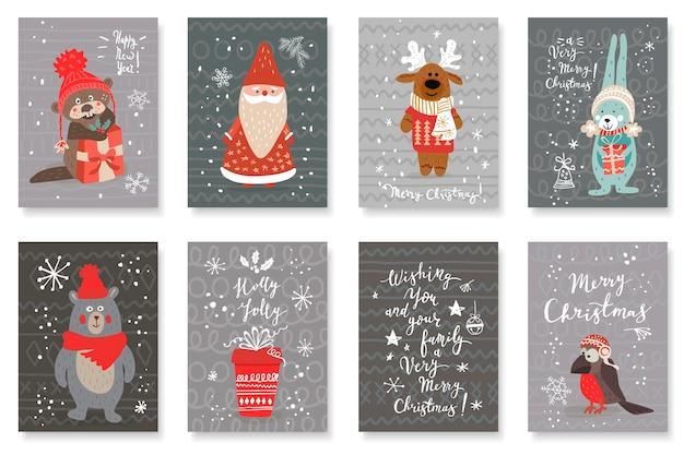 Conjunto de cartões fofos com animais bonitos desenhados à mão e saudações de natal