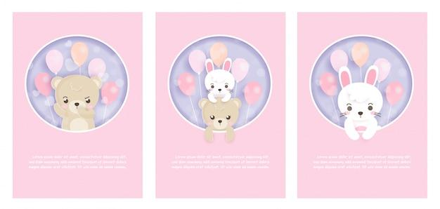 Conjunto de cartões fofos com coelhos e ursos de pelúcia no estilo de corte e artesanato de papel.