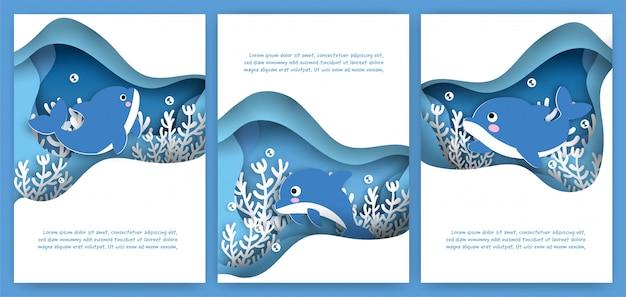 Conjunto de cartões fofos com golfinhos nadando debaixo d'água no estilo de corte de papel.