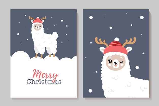 Conjunto de cartões fofos de ano novo com lhamas