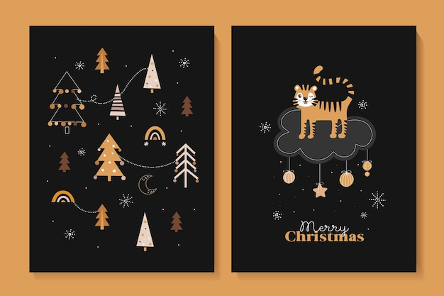 Conjunto de cartões fofos de ano novo com tigres feliz ano novo 2022