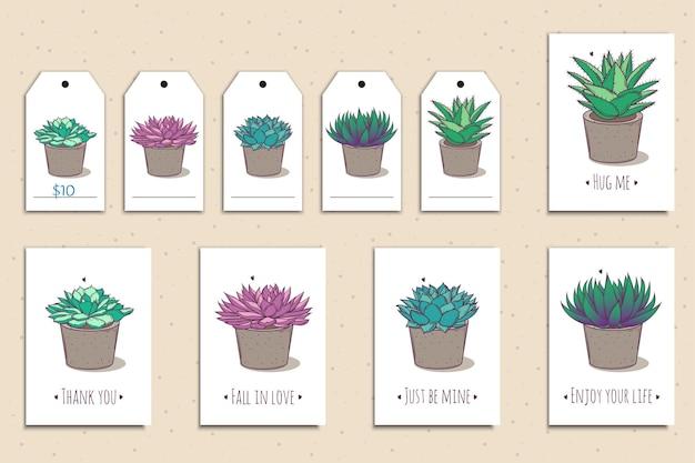 Conjunto de cartões fofos e etiquetas com suculentas coloridas mão desenhada.