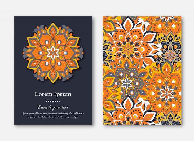 Conjunto de cartões, folhetos, brochuras, modelos com mão desenhada manda