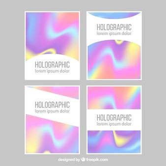 Conjunto de cartões holográficos abstratos