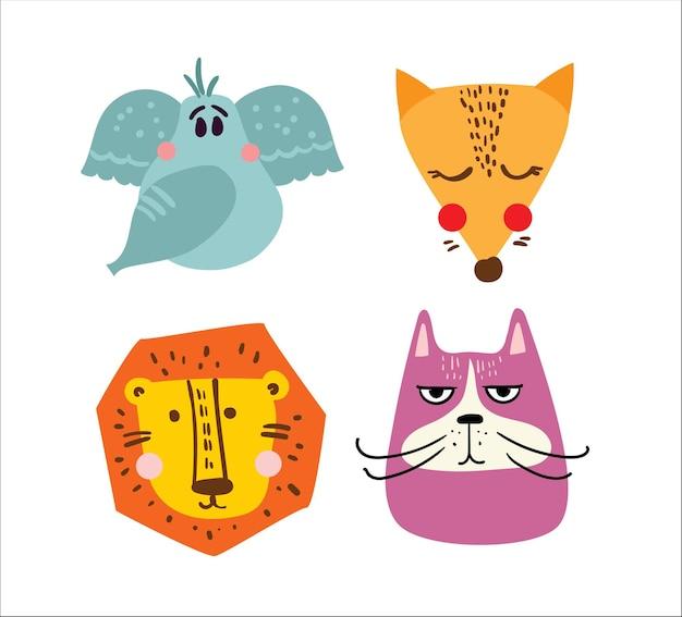Conjunto de cartões infantis de vetor com design simples de animais fofos