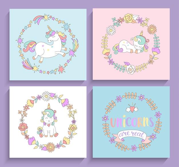 Conjunto de cartões mágicos de unicórnios com quadros circulares.