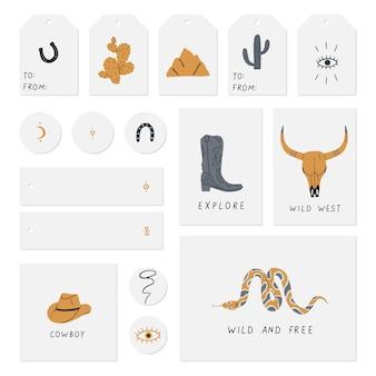 Conjunto de cartões, notas, etiquetas, selos, etiquetas, com, selvagem, búfalo, caveira, olho, montanhas, c