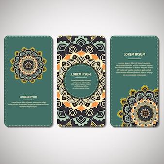 Conjunto de cartões ornamentais, folhetos com mandala de flores em turquesa