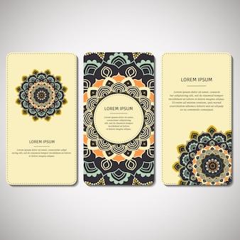Conjunto de cartões ornamentais, folhetos com mandala de flores