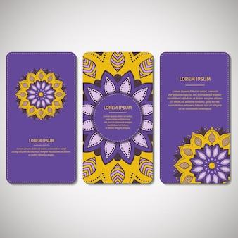 Conjunto de cartões ornamentais, folhetos com mandala.