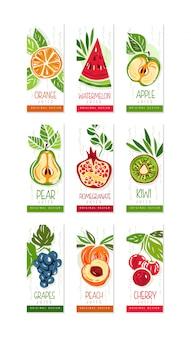 Conjunto de cartões ou banners verticais de frutas frescas melancia, laranja, maçã, pêra, kiwi, pêssego, cereja, romã, uvas. original desenhado à mão