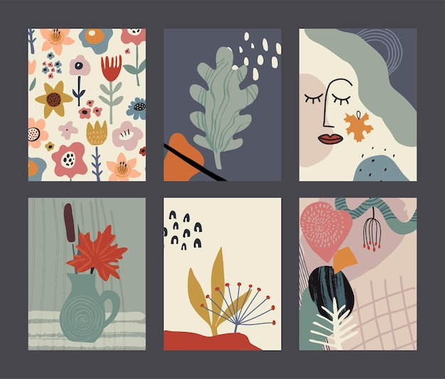 Conjunto de cartões ou cartazes contemporâneos de colagem colorida de vetor coleção da natureza do outono