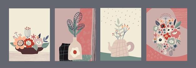 Conjunto de cartões ou cartazes contemporâneos de colagem colorida de vetor