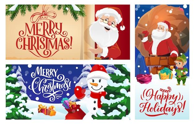 Conjunto de cartões ou cartazes de feliz natal