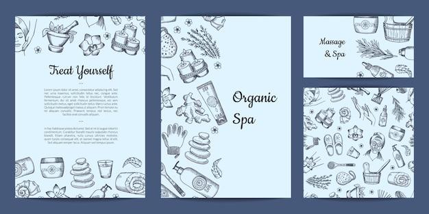 Conjunto de cartões ou modelo de panfleto com tema spa