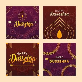 Conjunto de cartões para a celebração do festival indiano dussehra