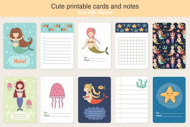 Conjunto de cartões para imprimir fofos e notas. tema da vida marinha com sereias