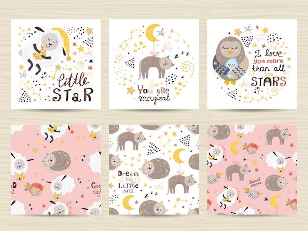 Conjunto de cartões para meninas pequenas